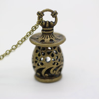Bottle necklace, 3D bottle necklace, retro bronze charm pendant,hollow bottle necklace