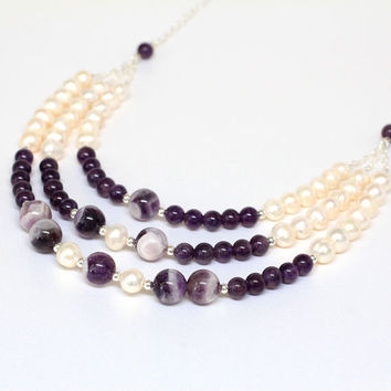 Amethyst Pearl Necklace, Gift for her, Holiday  Gift, Amethyst and Ivory Pearls Necklace, Purple Cascade Statement Bib Wedding Jewelry