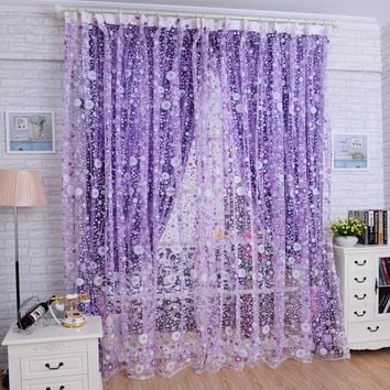 Window Curtain Printed  Floral Voile Curtains Home Decor Door Window Room Curtain Divider Scarf New Fashion