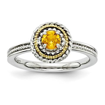 Sterling Silver & 14k Gold Stackable Expressions Sterling Silver Citrine Ring