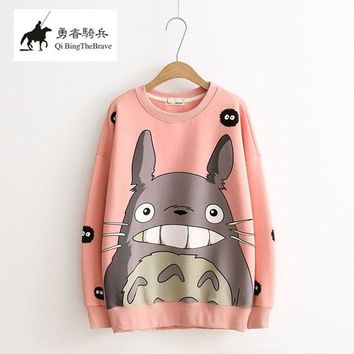 New Fashion Thicken Women Cartoon Totoro Hoodie Harajuku 3d Pullover Tops Autumn Winter Long Sleeve Fleece Sweatshirt 121502