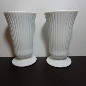 Vintage Milk Glass Striped/Ribbed Pedestal Vases with Scalloped Rims - Set of 2