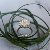 Lotus flower engagement ring - proposal ring - sterling silver ring - promise ring - lotus jewelry - unique gift for her - romantic