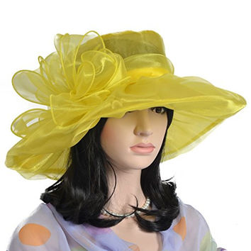 Bowknot Tea Party Kentucky Derby Church Hat Shower Bridal Wedding Dress Hat S040 (Yellow)