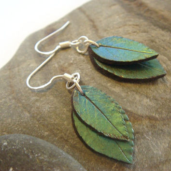Blue and Green Leaf Earrings  Sterling Silver and by JustClayin