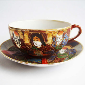 Antique Japanese Taisho period Satsuma moriage style gilded porcelain tea cup and saucer - Hand painded - Japanese porcelain - Sky blue