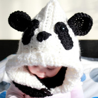 Made to order Crochet hooded cowl PANDA, oversized chunky yarn, baby/toddler sizes.