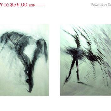 Abstract Canvas Art - Small Ballerina Paintings Prints - Black and White Art - Ballerina Art - Stretched Canvas Prints
