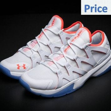 Original UA Under Armour Charged Phenom 2 Running Cool Grey Max Orange shoes