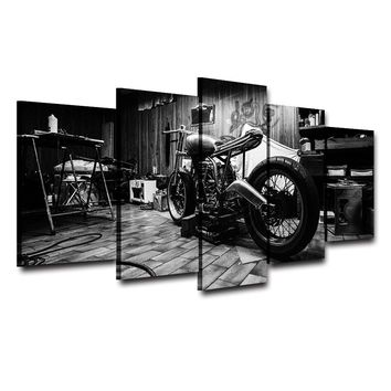 5 Panel Bobber Motorcycle Black & White Wall Art Canvas Panel Home Decor Print