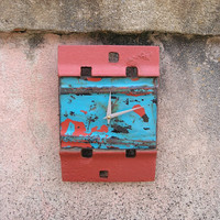 Contemporary Wall Clock - Wall Clock - Found Object Art Clock - Turquoise, Adobe Pink