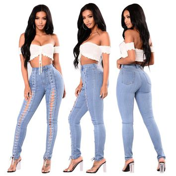 Lace Up Washed Jeans