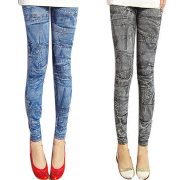 Ladies Demin Jeans Look Sexy Skinny Leggings Elastic Pants Jeggings Trousers