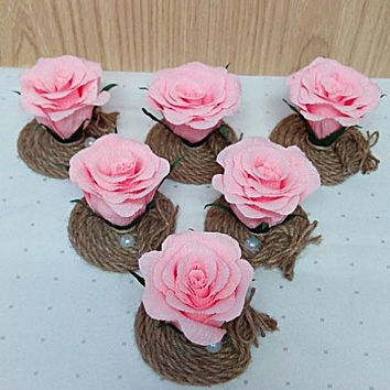 Wedding table flowers, Small table flowers, Wedding decor, Set of 12 roses, Wedding Centerpieces, Rustic rose, flowers for celebration