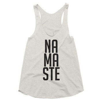 NAMASTE yoga, workout tank, brunch, racerback tank, graphic tee, Yoga Top, Gym Top, fitness, hot yoga