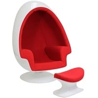 LexMod Eero Aarnio Alpha Shell Egg Chair And Ottoman in Red