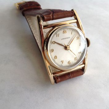 Longines Vintage Wristwatch, 10k Gold Filled Case, 17 Jewels, Leather Band