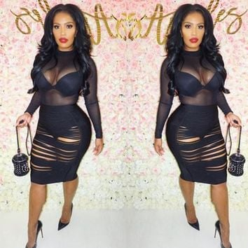 Streetstyle  Casual Black Patchwork Grenadine See-Through Club Jumpsuit And Ripped Skirt
