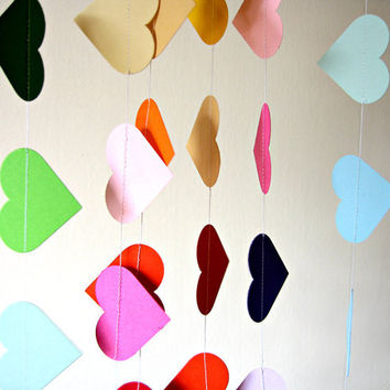 Rainbow Party decor  Paper rainbow heart garland by Pelemele
