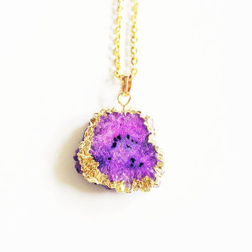 Purple Druzy Necklace, Statement Necklace, Gold Geode Necklace, Druzy Jewellery, Stalactite Necklace, Long Boho Necklace, Druzy Cluster