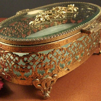 Matson Oval Gilt Ormolu Jewelry Casket // Dresser, Trinket Box // Hinged Beveled Glass Lid // from Successionary