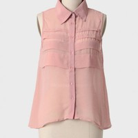 on the horizon pleated blouse in blush at ShopRuche.com