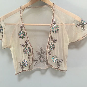 Sequined Tan Bolero Vintage Cropped Shrug Open Blouse, Sheer Crop Blouse, Beaded Short Sleeve Bolero Open Jacket See Through Shrug Blouse S