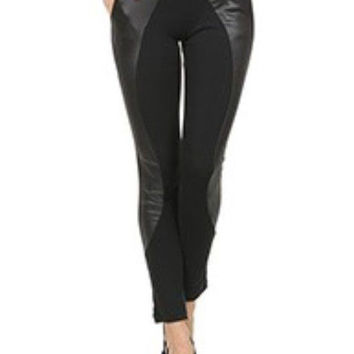 stylish Hot Womens Liquid BLACK w/ Faux Leather Leggings Size S Small