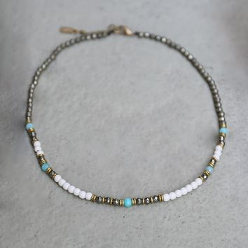 Howlite, Pyrite and Amazonite Delicate Necklace