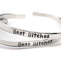Best Bitches - Hand Stamped Aluminum Friendship Bracelet Pair