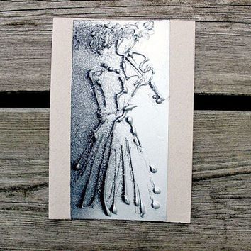 Greeting card A6 4x6 - silver violin player - beige background