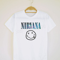Galaxy Nirvana TShirt Alternative Rock TShirt Galaxy TShirt White TShirt Short Sleeves Tee Shirt Women TShirt Unisex TShirt  Size S,M,L