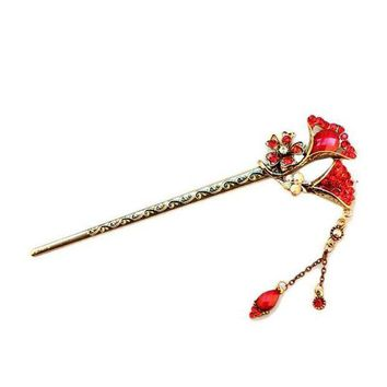 PEAP78W New Flower Curved Retro Vintage Wave Hairpin Antique Hair Sticks Flower Pretty Hair Decoration Hair Accessory Chinese Hair Clips