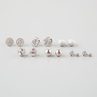Full Tilt 6 Pairs Rhinestone Post Earrings Silver One Size For Women 25113114001