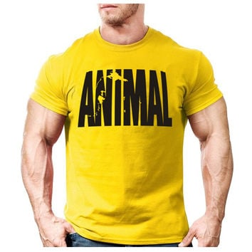 Print tracksuit t shirt muscle shirt Trends in fitness cotton clothes for men bodybuilding Tee large