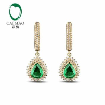 14KT Yellow Gold 2.18 ct Natural Emerald 0.92 ct Full Cut Diamond Earrings