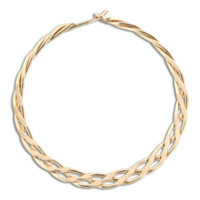 Braided Hoop Earrings - 33mm - Gold Filled