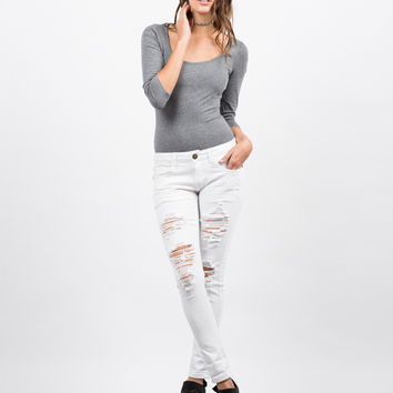 White Mid-Rise Destroyed Jeans