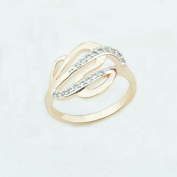 Fashion Jewelry 13mm Wide Women Wedding Rings 585 Gold Color Cubic Zirconia Weaving New Mixed White Color Rings