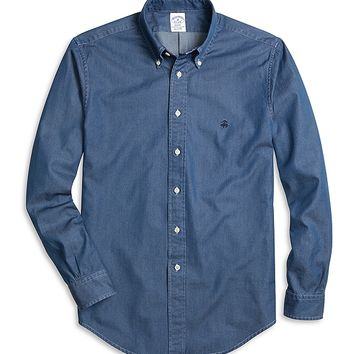Men's Slim Fit Button-Down Dark Blue Denim Sport Shirt | Brooks Brothers