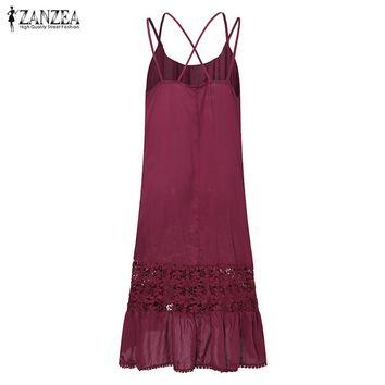 New ZANZEA Women Strappy Summer Lace Crochet Sleeveless Ruffles Slip Dress Party Beach Patchwork Solid Long Vestido Oversized