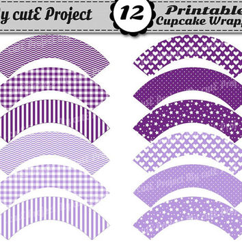 Cupcake Wrappers Purple & Lilac - Instant Download - Candy Bar Party Printable- Polka dots, star, gingham, chevron, heart, stripes