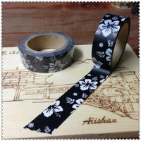 Free shipping high quality  washi paper  tape/15mm*10m black background white  flower  masking  japan  washi tape