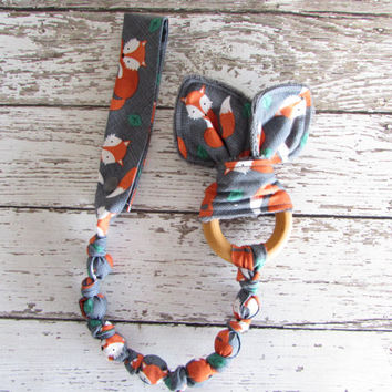 Tula Sly Snap On Teether. Bunny Ear Teether. Organic Wooden Teether - RTS