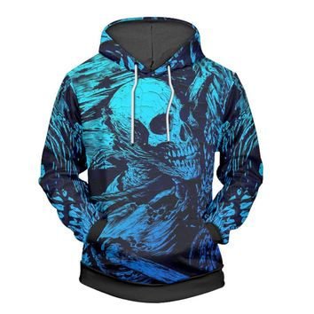 Blue Skull 3D Hoodie Casual Fashion Long Sleeve