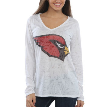 Arizona Cardinals Women's Sublime Burnout V-Neck Long Sleeve T-Shirt – White