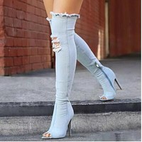 Hot Knee-high Denim  Boots