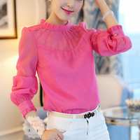 Lotus Leaf Collar Long Sleeve Blouse