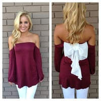 Burgundy & White Bow Back Off Shoulder Top