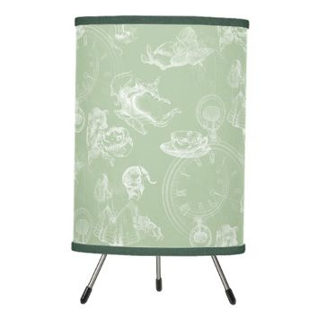 Alice in Wonderland Tea Time Sage Green Lamp